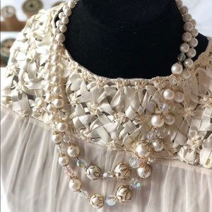 Jewelry - 1950s Crystal Bead Necklace Vintage Bead Jewelry
